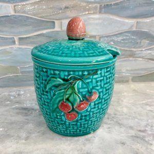 Vintage German Aqua Fruit Basket Jam Jar With Lid